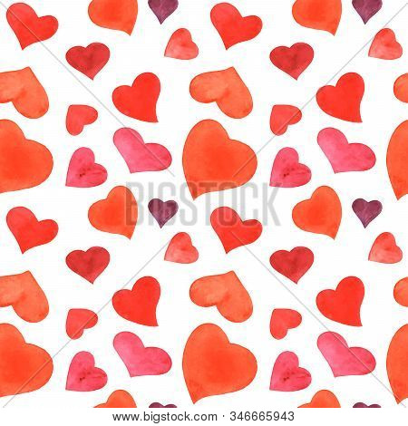 Romantic Watercolor Seamless Pattern With Red Hearts, Traced Illustration