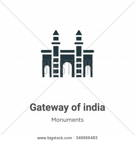 Gateway of india icon isolated on white background from monuments collection. Gateway of india icon