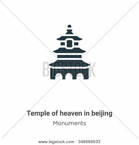 Temple Of Heaven In Beijing Glyph Icon Vector On White Background. Flat Vector Temple Of Heaven In B