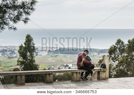 Vila Cha Near Esposende - May 9, 2018: Couple Enjoying The Panoramic View Of Esposende On The Entran