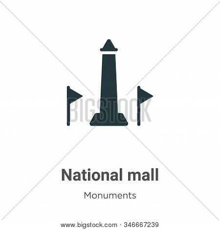 National Mall Glyph Icon Vector On White Background. Flat Vector National Mall Icon Symbol Sign From