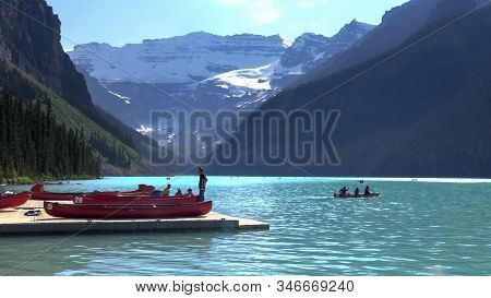 Lake Louise Canada- Jul 5, 2018: Canoe Hire At Lake Louise In Banff National Park