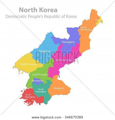 North Korea Map, Democratic Peoples Republic Of Korea, Administrative Division, Color Map Isolated O