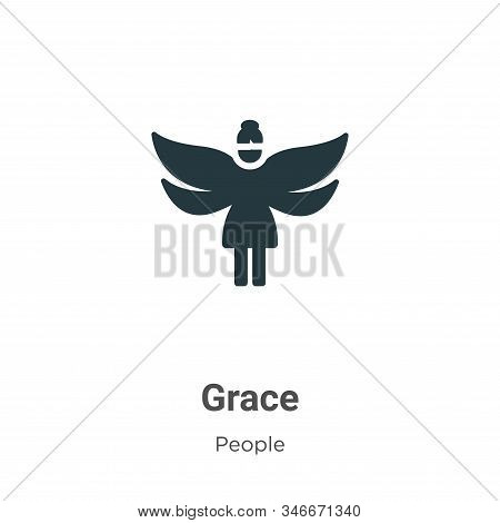 Grace Glyph Icon Vector On White Background. Flat Vector Grace Icon Symbol Sign From Modern People C