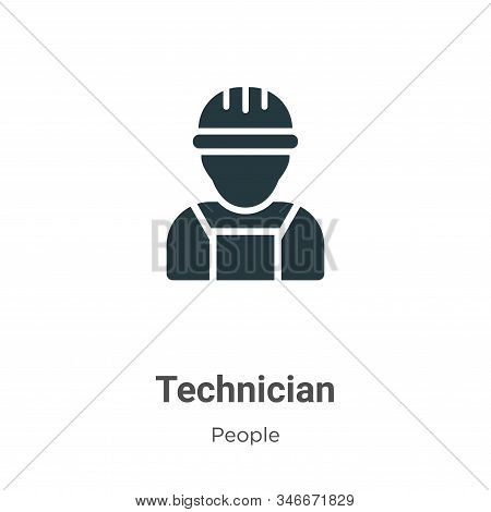 Technician Glyph Icon Vector On White Background. Flat Vector Technician Icon Symbol Sign From Moder