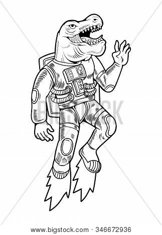 Engraving Draw Astronaut T Rex Space Dino Which Flying Up In Special Space Suit. Vintage Cartoon Cha