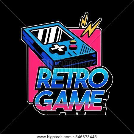 Old School Vintage Gamepad For Play Retro Video Game Gamer Arcade. Custom Design Vector Isometric Il