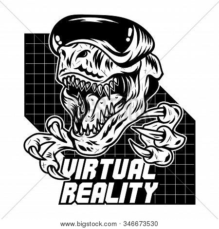 T Rex Dinosaur Angry Gamer Which Play Virtual Arcade Video Game In Modern Vr Glasses. Mascot Sport L