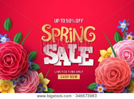 Spring Sale Vector Banner. Spring Sale Text With Colorful Camellia Flowers And Crocus Flower In Red