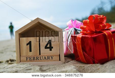 Happy Valentines Day, Valentines Day Background, Wooden Calendar On February 14, Red Gift Box In Sof