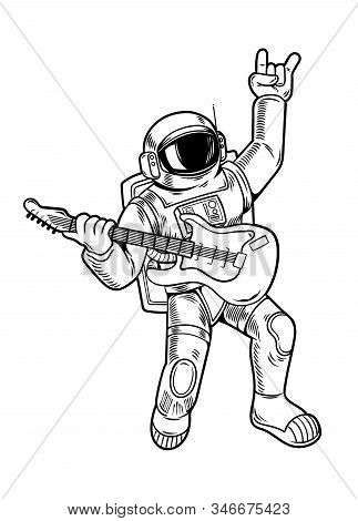 Engraving Draw With Cool Dude Astronaut Spaceman Rock Star Play On Guitar In Space Suit. Vintage Car