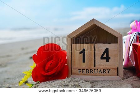 Happy Valentines Day, Valentines Day Background, Wooden Calendar On February 14, Red Rose Flower, Gi