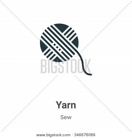 Yarn Glyph Icon Vector On White Background. Flat Vector Yarn Icon Symbol Sign From Modern Sew Collec