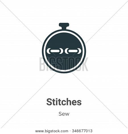 Stitches Glyph Icon Vector On White Background. Flat Vector Stitches Icon Symbol Sign From Modern Se