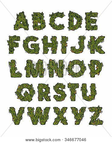 Decorative Green Marijuana Alphabet Set With Isolated Fonts Design In Weed Cannabis Hemp Buds Styliz