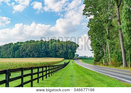Amish Country Field Agriculture, Harvest, Horse, Farm, Barn In Lancaster, Pa Us.