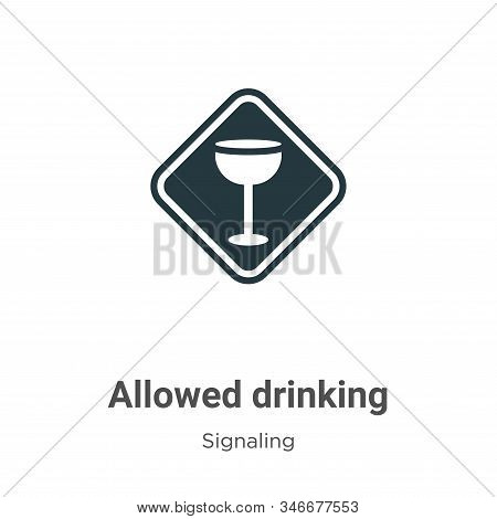 Allowed Drinking Glyph Icon Vector On White Background. Flat Vector Allowed Drinking Icon Symbol Sig