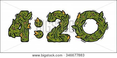 Decorative Green Marijuana Font With Isolated Lettering Design Weed Number Of Time