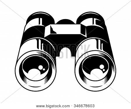 Classic Metal Binoculars For Watch Animals Birds And Wildlife. Isolated White Background. Custom Des