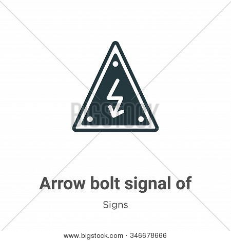Arrow Bolt Signal Of Electrical Shock Risk In Triangular Glyph Icon Vector On White Background. Flat