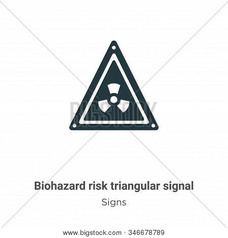 Biohazard Risk Triangular Signal Glyph Icon Vector On White Background. Flat Vector Biohazard Risk T