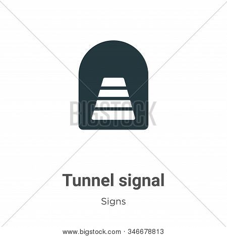 Tunnel Signal Glyph Icon Vector On White Background. Flat Vector Tunnel Signal Icon Symbol Sign From