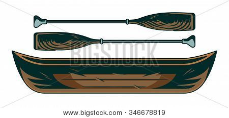 Vintage Wooden The Boat Canoe With Couple Of Oars. Object For White Water Rafting Adventure Into The