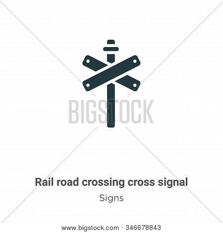 Rail road crossing cross signal icon isolated on white background from signs collection. Rail road c