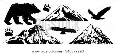 Set Collection Bundle Of Wildlife Outdoor Objects Animals, Mountains And Eagle. Monochrome Graphic D