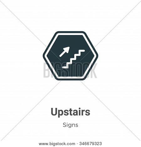 Upstairs Glyph Icon Vector On White Background. Flat Vector Upstairs Icon Symbol Sign From Modern Si