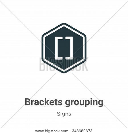 Brackets Grouping Symbol Glyph Icon Vector On White Background. Flat Vector Brackets Grouping Symbol
