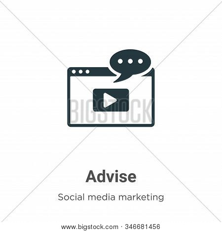 Advise Glyph Icon Vector On White Background. Flat Vector Advise Icon Symbol Sign From Modern Social