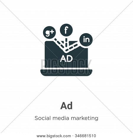 Ad icon isolated on white background from social media collection. Ad icon trendy and modern Ad symb