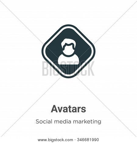Avatars Glyph Icon Vector On White Background. Flat Vector Avatars Icon Symbol Sign From Modern Soci