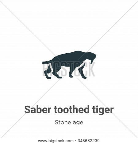 Saber toothed tiger icon isolated on white background from stone age collection. Saber toothed tiger