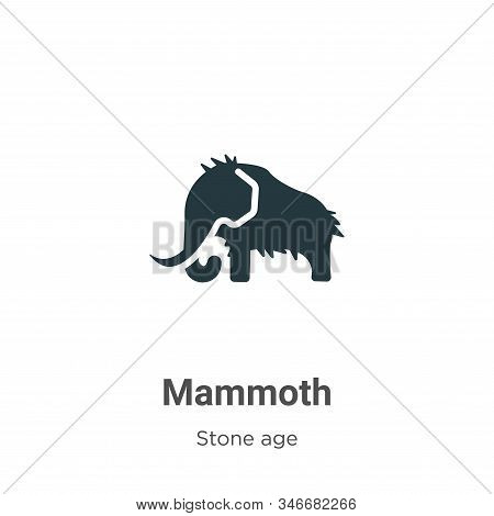 Mammoth Glyph Icon Vector On White Background. Flat Vector Mammoth Icon Symbol Sign From Modern Ston