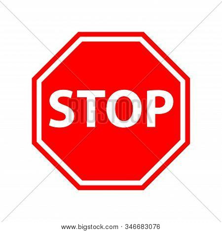 Vector Stop Sign Icon. No Sign, Red Warning Isolated. Not Allowed Icon. Flat Illustration Of Not All