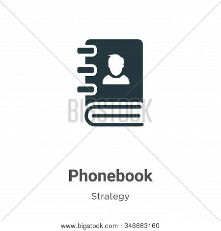 Phonebook Glyph Icon Vector On White Background. Flat Vector Phonebook Icon Symbol Sign From Modern