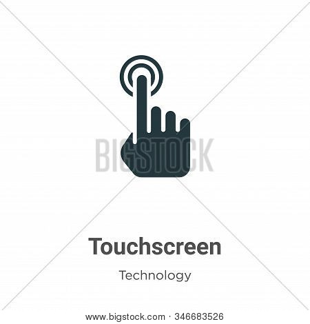 Touchscreen Glyph Icon Vector On White Background. Flat Vector Touchscreen Icon Symbol Sign From Mod