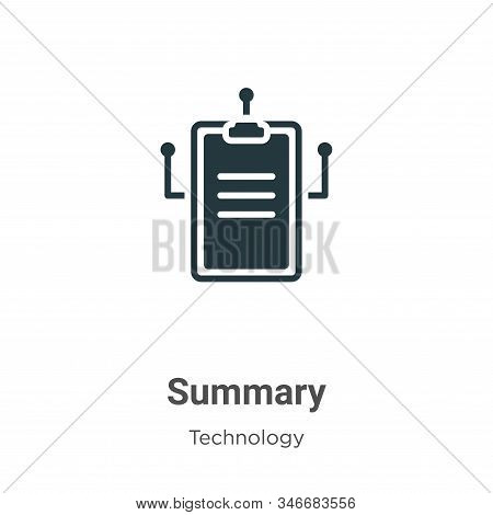Summary Glyph Icon Vector On White Background. Flat Vector Summary Icon Symbol Sign From Modern Tech