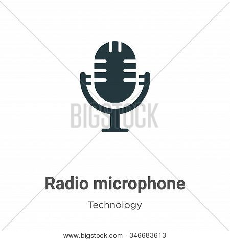 Radio Microphone Glyph Icon Vector On White Background. Flat Vector Radio Microphone Icon Symbol Sig