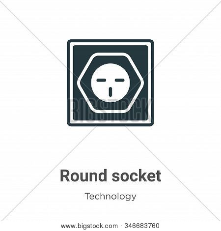 Round socket icon isolated on white background from technology collection. Round socket icon trendy