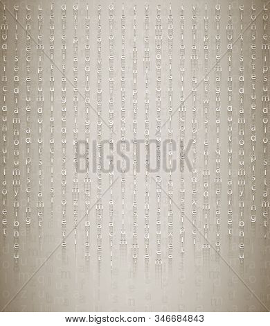 Secret Message From The Past On A Beige Background. An Ancient Stone Tablet With Encrypted Testament