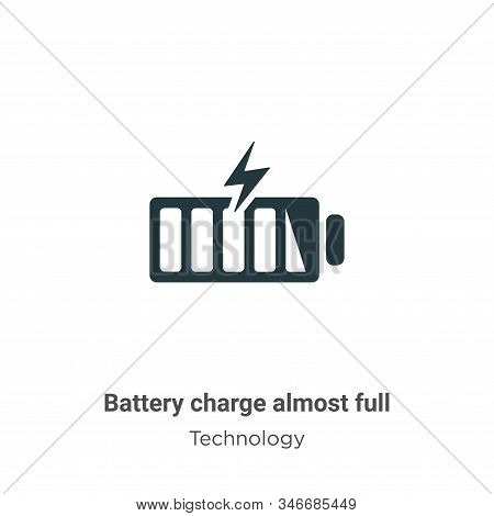 Battery charge almost full icon isolated on white background from technology collection. Battery cha