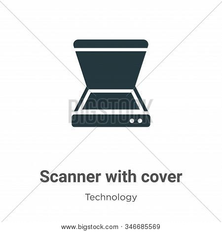 Scanner With Cover Glyph Icon Vector On White Background. Flat Vector Scanner With Cover Icon Symbol