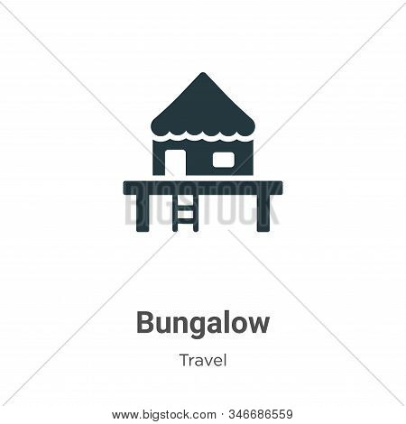 Bungalow Glyph Icon Vector On White Background. Flat Vector Bungalow Icon Symbol Sign From Modern Tr