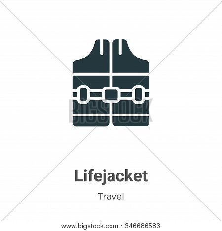 Lifejacket Glyph Icon Vector On White Background. Flat Vector Lifejacket Icon Symbol Sign From Moder