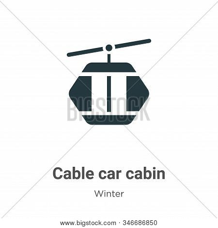 Cable Car Cabin Glyph Icon Vector On White Background. Flat Vector Cable Car Cabin Icon Symbol Sign