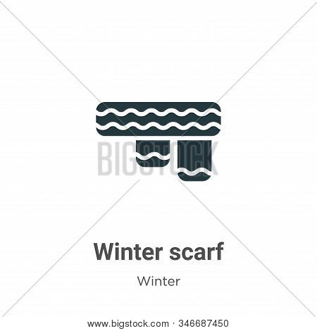 Winter Scarf Glyph Icon Vector On White Background. Flat Vector Winter Scarf Icon Symbol Sign From M