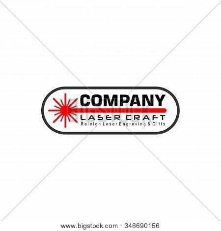 Laser Craft Logo Design Template, Red Light Logo Concept, Oval Runded Shape Element, Vector Eps 10